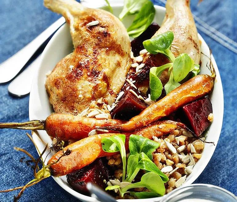 Kyckling med rödbetor och pepparrot