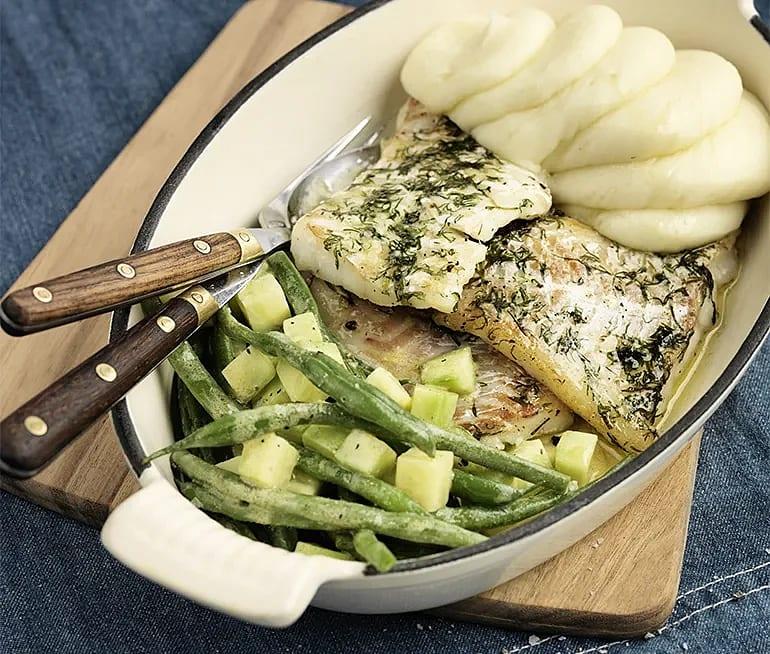 Dillstekt torsk med potatismos