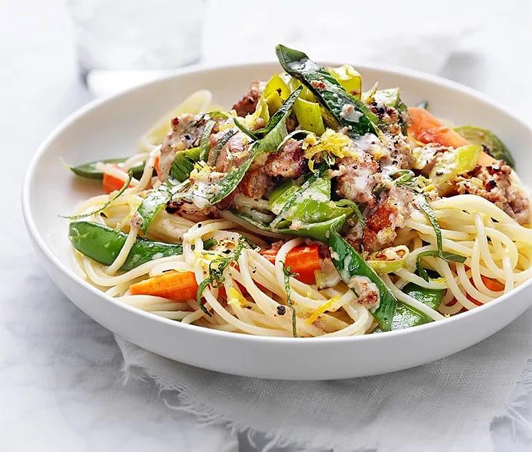 Spaghetti med salvia och isterband