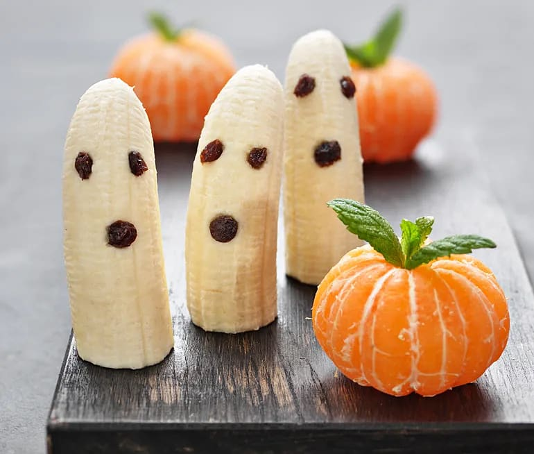Minipumpor av clementiner och bananspöken