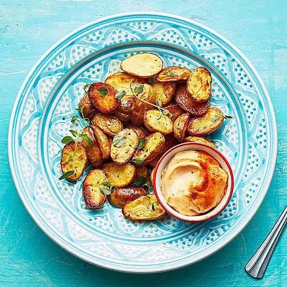 Rostad potatis med peppar- och paprikamajo