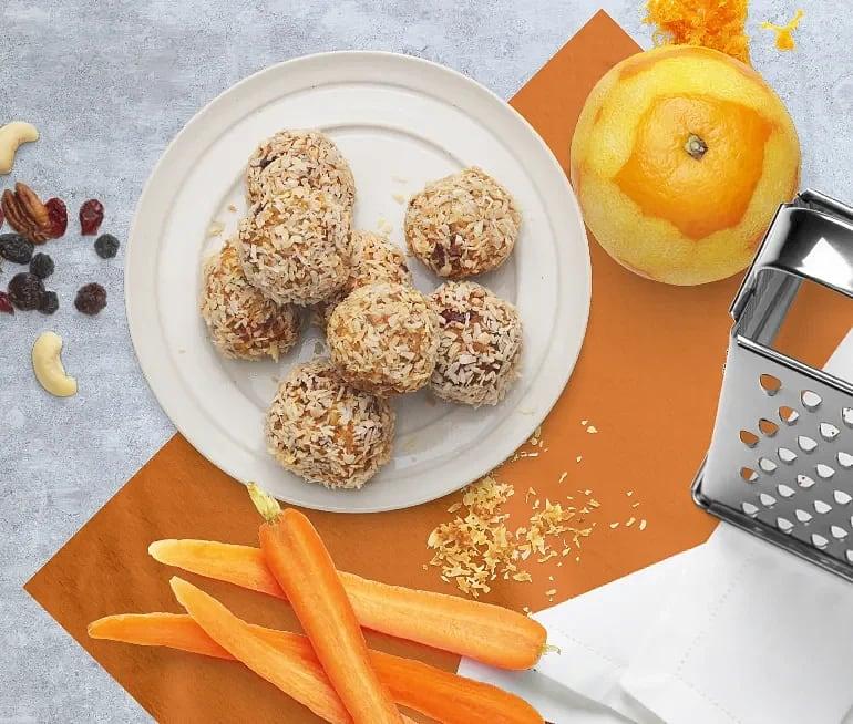 Raw food bär- och nötbollar med morot