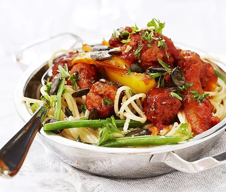 Linguine med chorizo och paprika