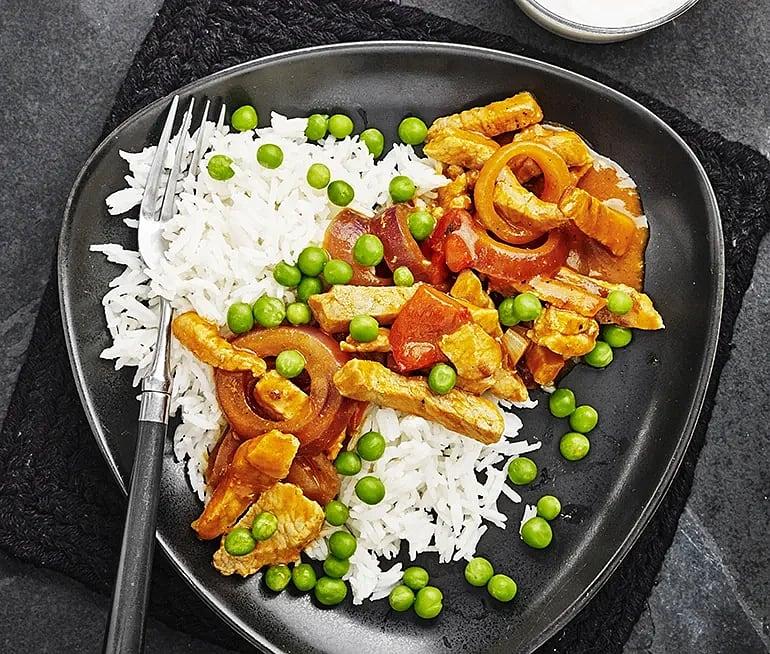 Snabba köttgrytan med ärter och ris