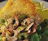 Frästa räkor med grönsaker och ostchips