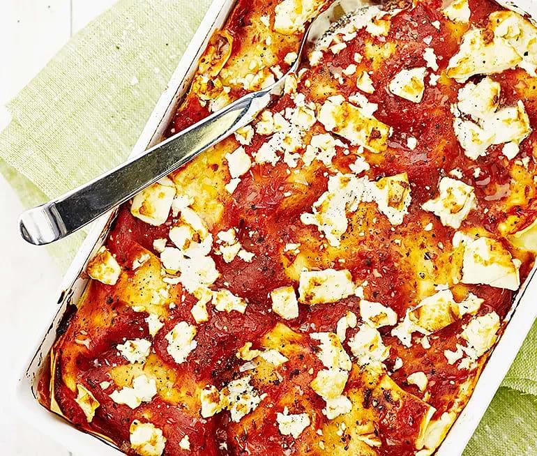 Lasagne med skinka och grillad paprika