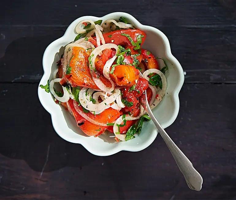 Grillad marinerad paprika med persilja och chili