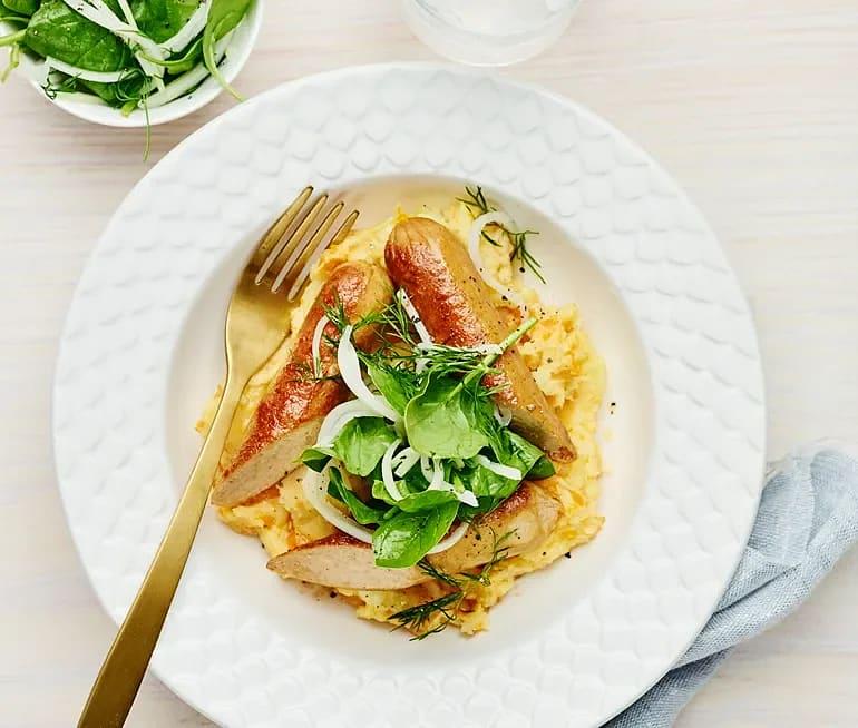 Sojakorv med morotsmos och syrad kålrabbi