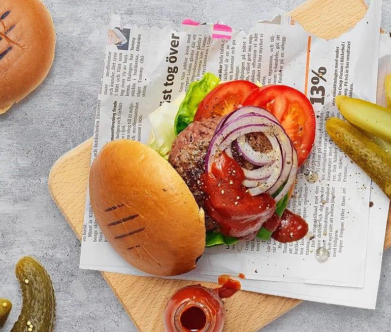 Hamburgare med BBQ Sås-Hickory-apple