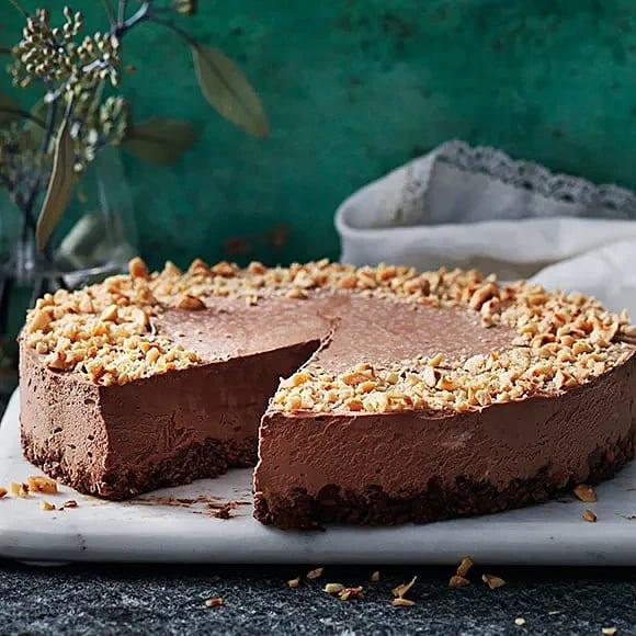 Fryst choklad- och hasselnötscheesecake
