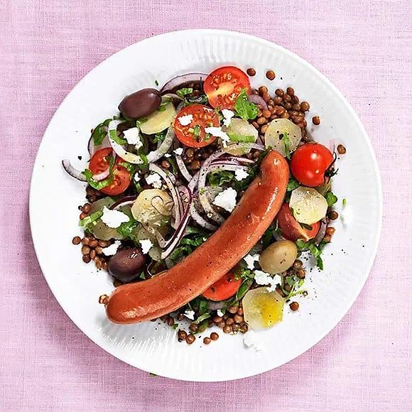 Lins- och tomatsallad