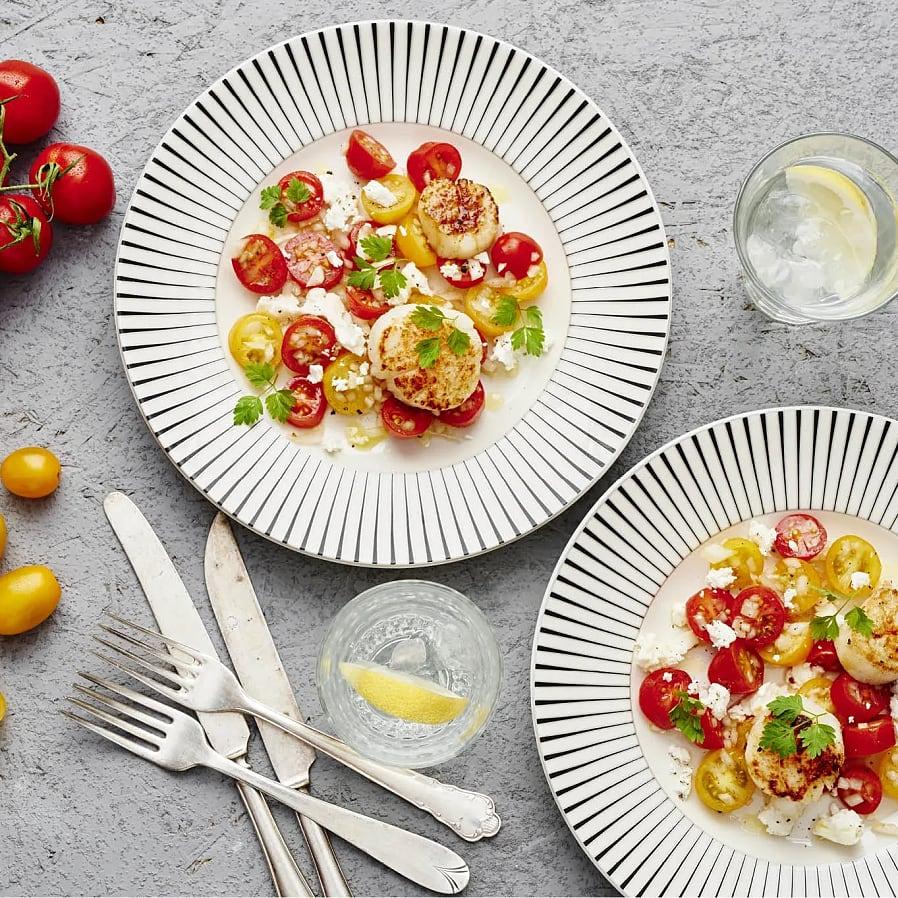Pilgrimsmussla med tomatsallad och getost