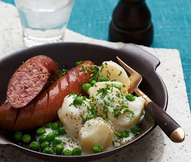 Isterband, frukostkorv och stuvad potatis