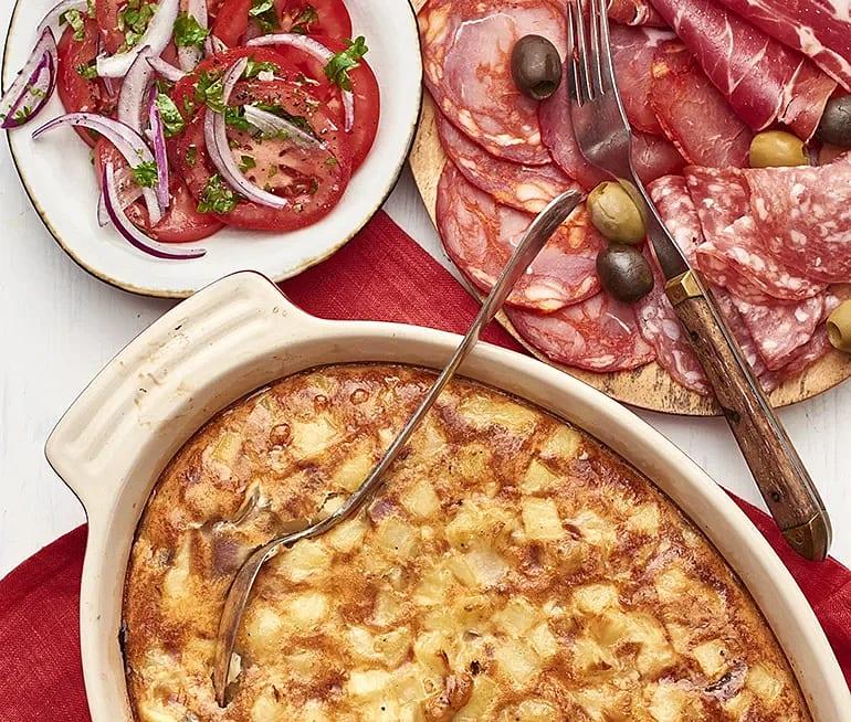 Tortilla med oliver och chark