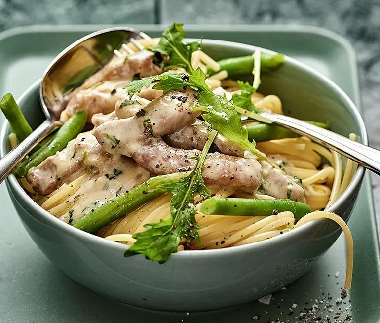 Spaghetti med karré och haricots verts