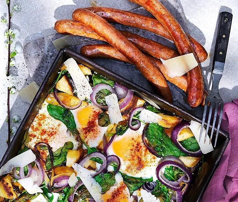 Bakade ägg med palsternacka och spenat