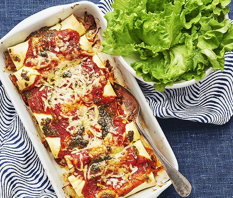 Cannelloni med köttfärs och pesto