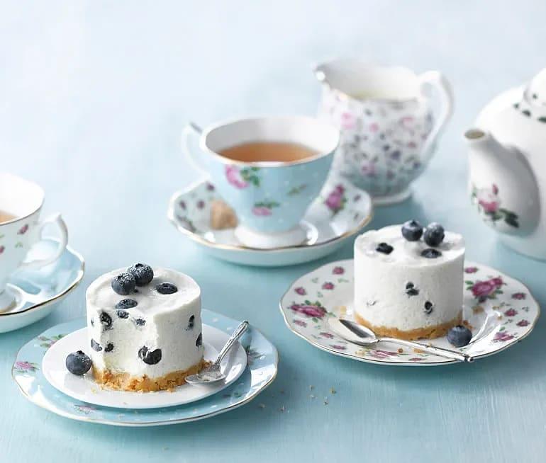 Earl Grey och blåbärs-cheesecake
