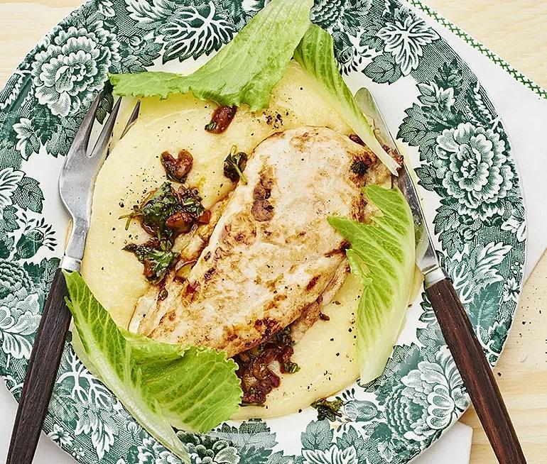Kyckling med krämig polenta