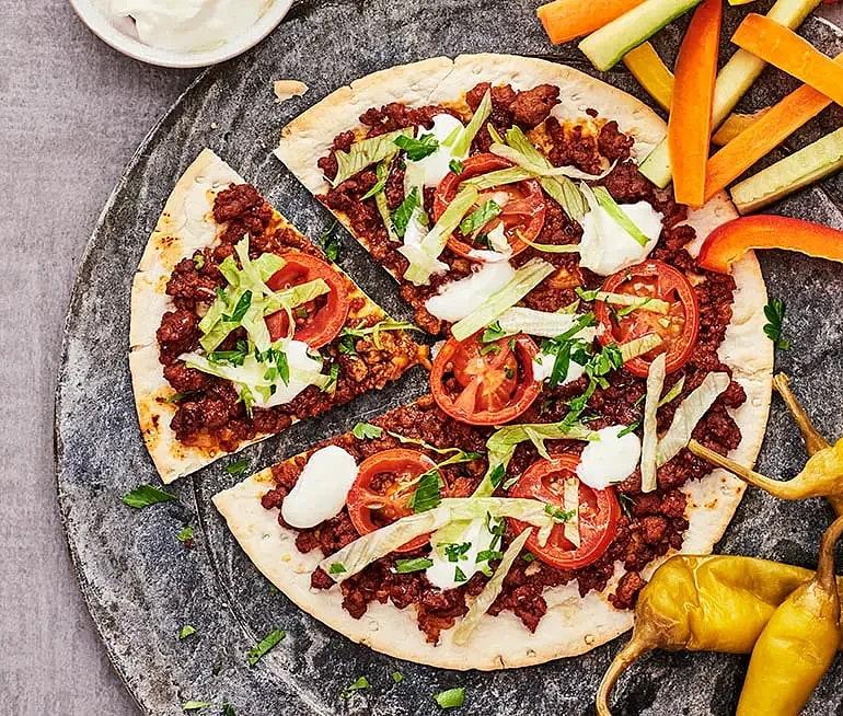 Tunnbrödspizza med sojafärs