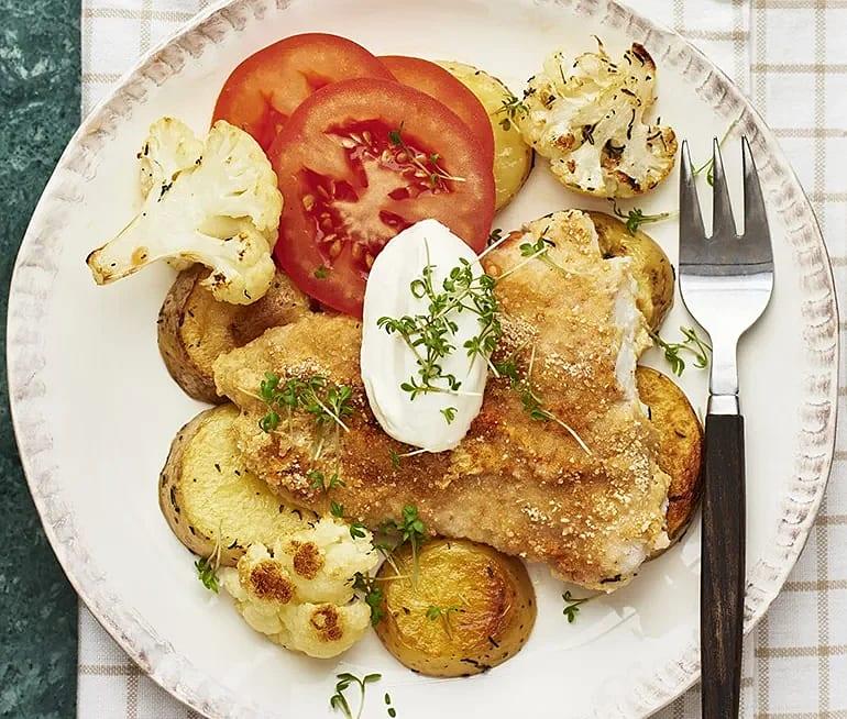 Senapsbakad torsk med rostad potatis och blomkål