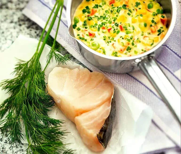 Hollandaisestuvade grönsaker till kokt fisk