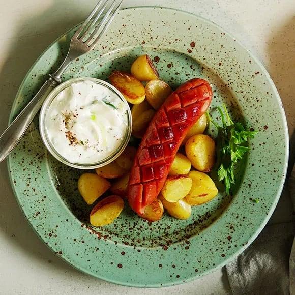 Chorizo med potatis och persiljetzatziki