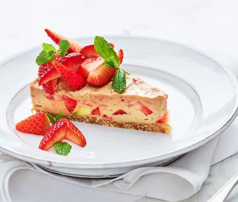 Vegansk jordgubbscheesecake