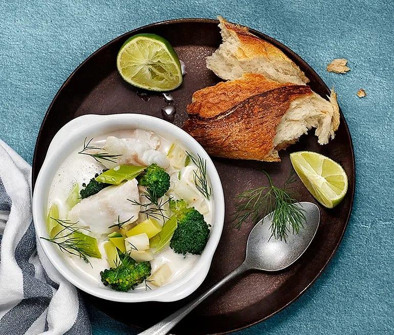 Fiskgryta med kokos, lime och torskfilé