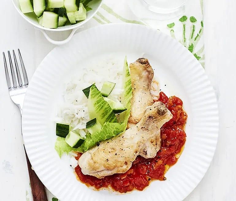 Ugnsstekta kycklingben med sötsur tomatsås