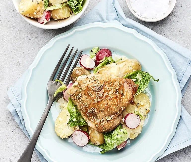 Rosmarinstekt kyckling med krämig potatissallad