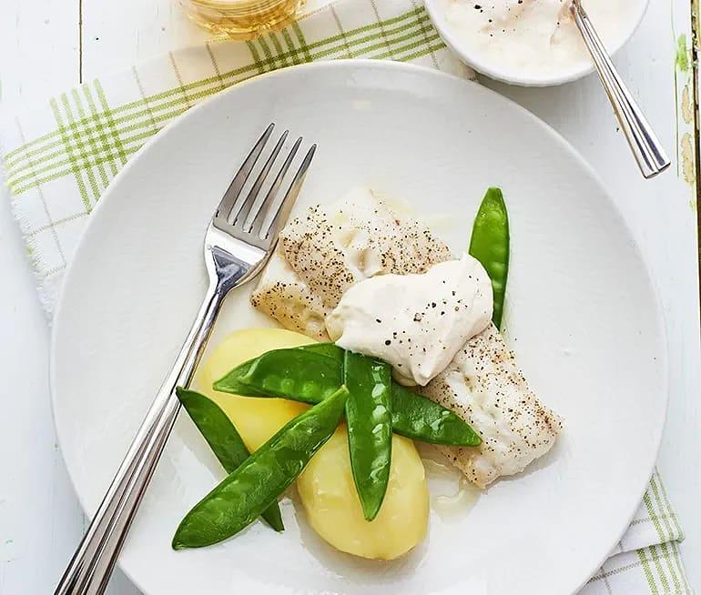 Stekt torsk med kall kaviarsås