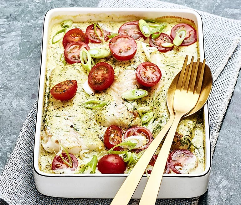 Ugnsbakad torsk med pesto och tomat