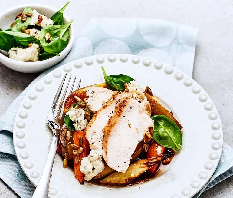 Kycklingfilé och höstsallad med päron