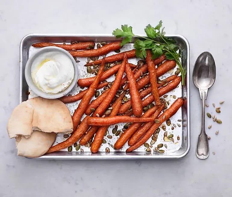 Rostade morötter med fröströssel