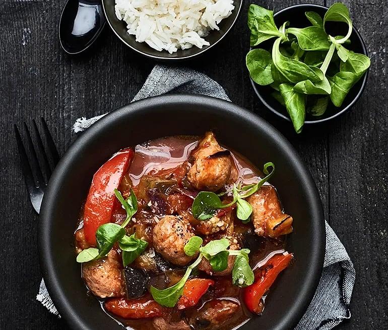 Lammragu med paprika och aubergine