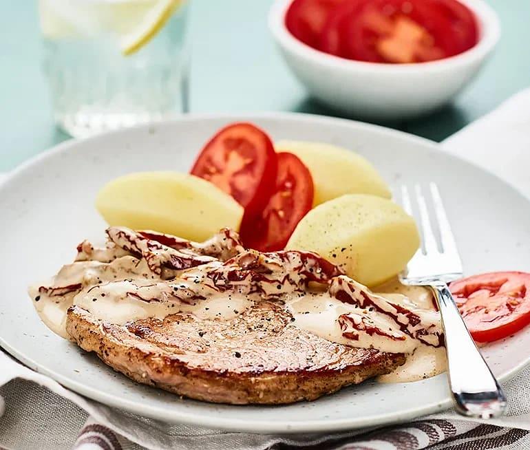 Skinkschnitzel med soltorkad tomatsås