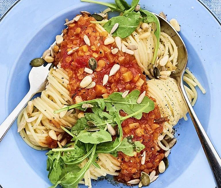 Linsbolognese med spaghetti