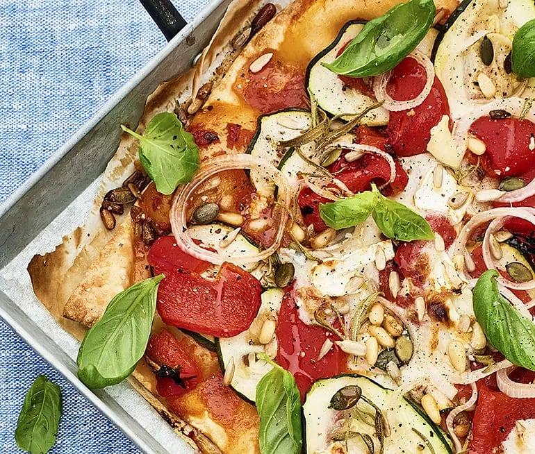 Zucchinipizza med getost