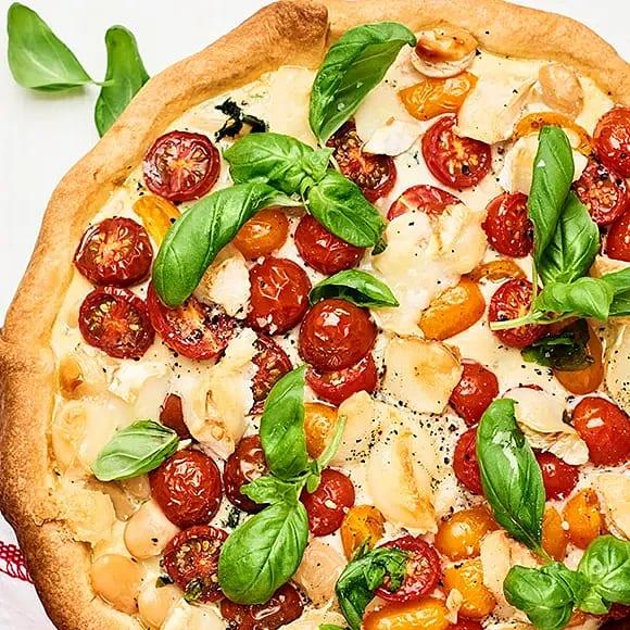 Tomat- och spenatpaj med getost