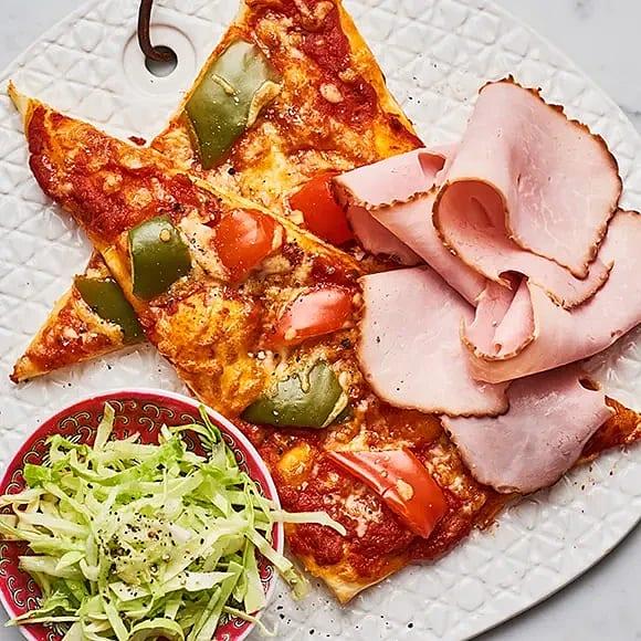 Paprikapizza med skinka