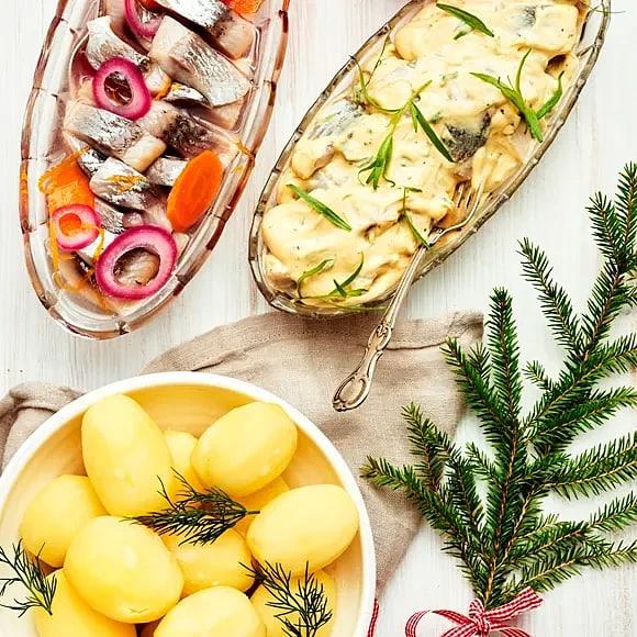 Inlagd sill med apelsin och Krämig senap- och dragonsill