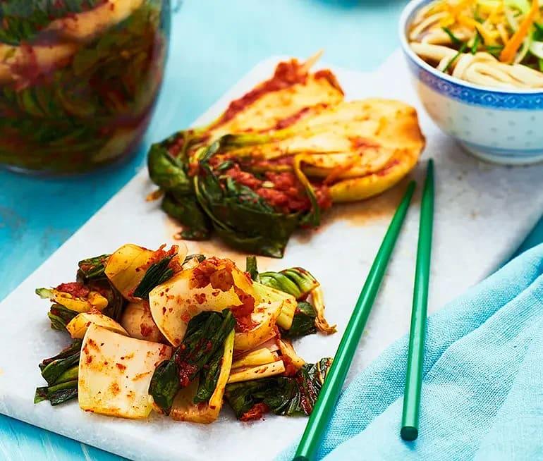Kimchi på pak choi