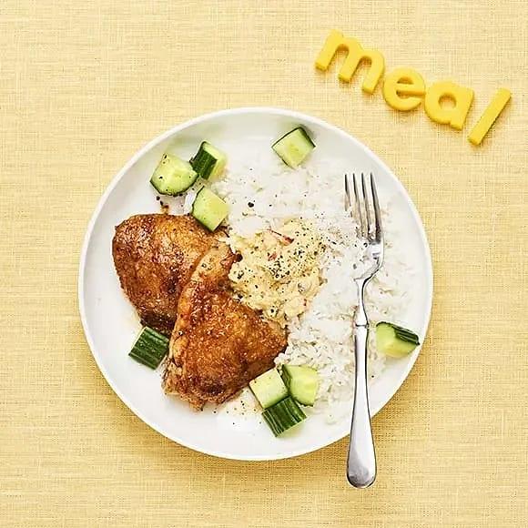 Kycklinglår med currydip och ris