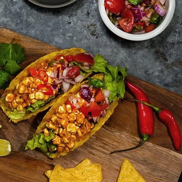 Snabba tacos med mjölkproteinstrimlor