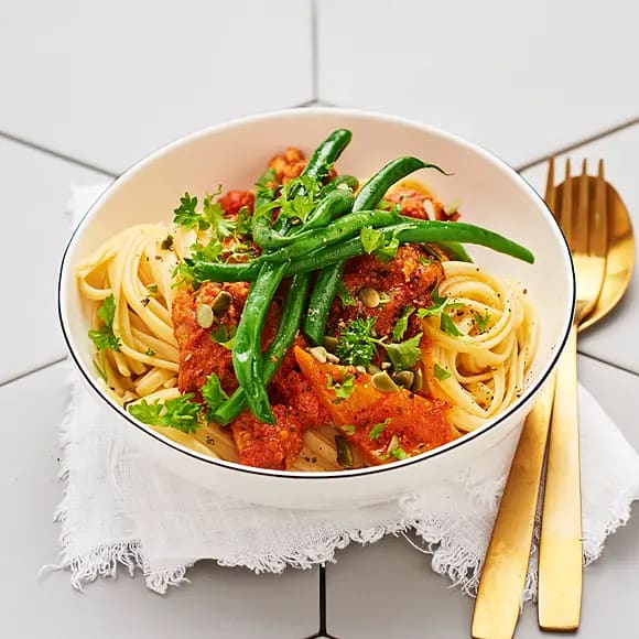 Linguine med salsiccia och paprika