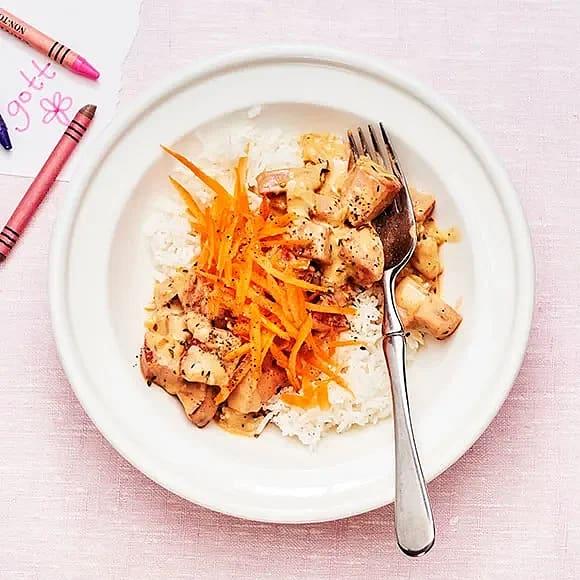 Blond stroganoff med ris
