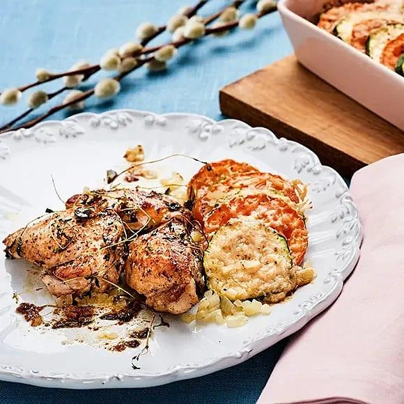 Kyckling med zucchinigratäng