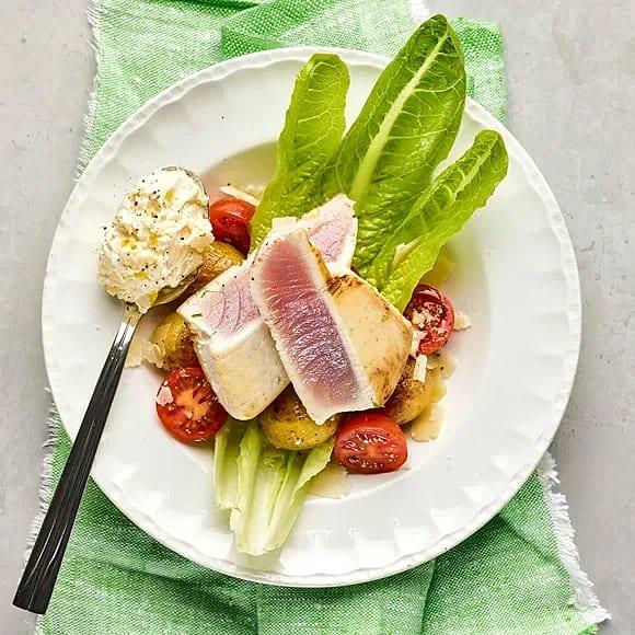 Halstrad tonfisk med citron och parmesankräm
