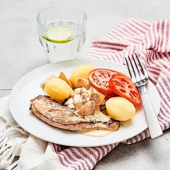 Skinkschnitzel med champinjonsås
